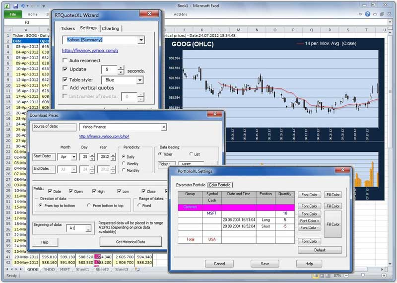 Download free stock quotes, options, investment portfolio in Microsoft Excel