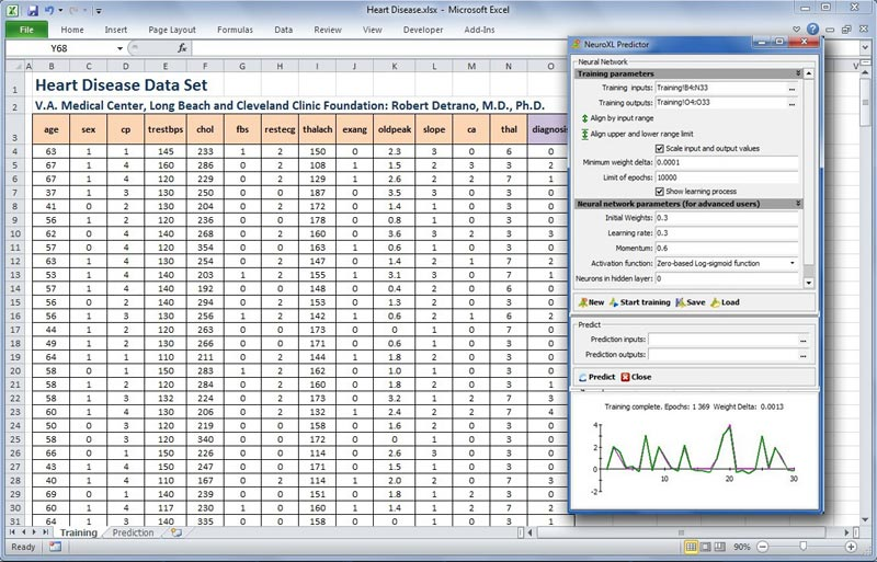 Neural network add-in for Microsoft Excel